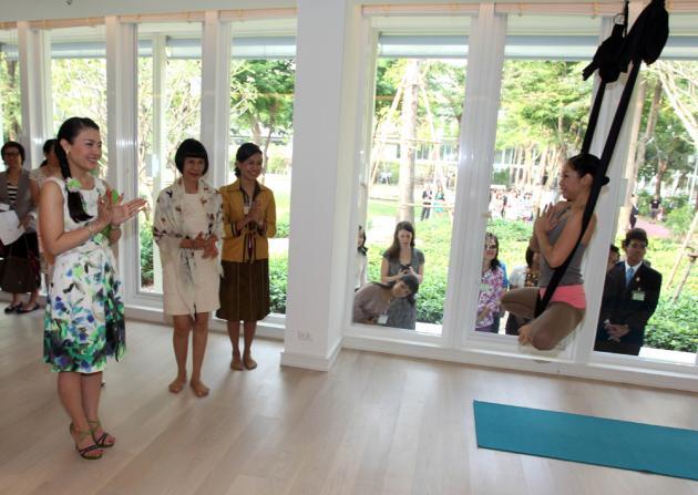 Yoga Fly by Patricia Performance at the Opening of Sukho Yoga Bangkok